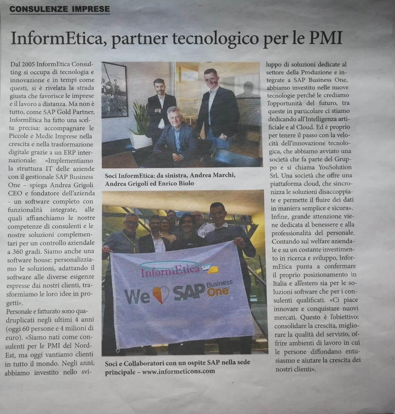 Corriere della Sera: InformEtica, SAP Gold Partner, l'azienda fa dell'innovazione la sua carta vincente